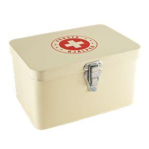 emaljerad medicinlåda av ngt slag, helst med lås