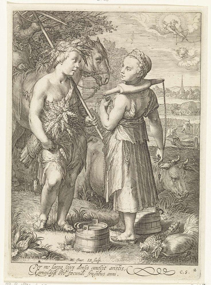 Jan Saenredam | De Zomer, Jan Saenredam, Cornelius Schonaeus, 1601 | Ontmoeting tussen een melkmeisje en een boerenjongen in een landschap. Het meisje staat met een juk op haar schouders, de jongen draagt korenaren in het haar, een korenschoof onder de arm en een hark over de schouder. Achter hen een paard en een grazende koe. In de lucht vliegt Amor met pijl en boog.