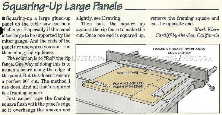 Squaring-Up Large Panels - Panel Glue Up Tips, Jigs and Techniques   WoodArchivist.com