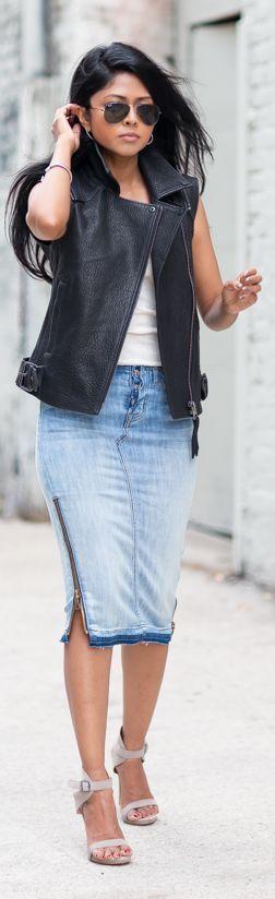 Hudson Jeans Blue Side Zip Washed Denim Pencil Midi Skirt by Walk In Wanderland