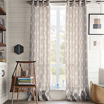 Ikat Ogee Linen Curtain - Ivory/Platinum. Love the gray curtains for great room