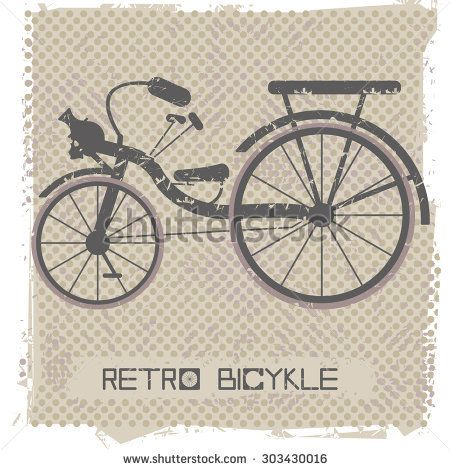 Vintage bicycle on retro Background.  Stylish postcard for your designs.