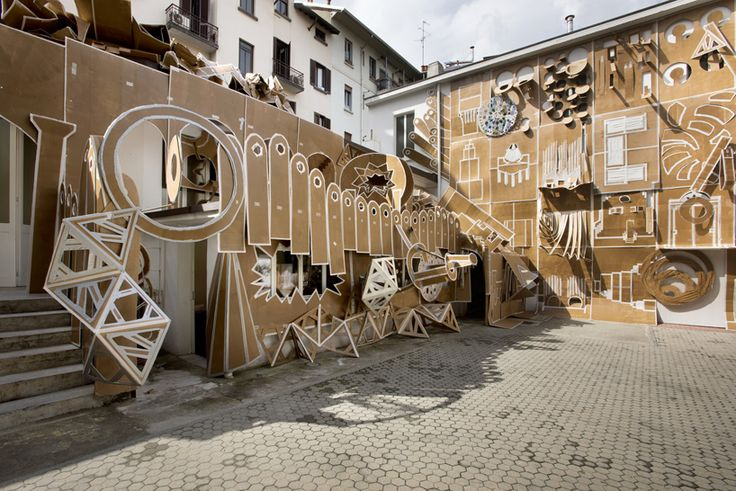 daniel gonzález turns milanese courtyard into an animated, architectural pop-up book