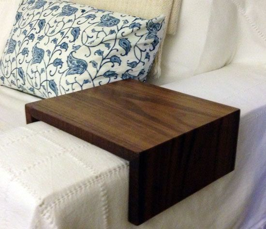 MIght want Dad to make us two of these! : Couch Arm Wrap. Sofa Wrap. Organic Modern Arm Rest in Walnut Wood
