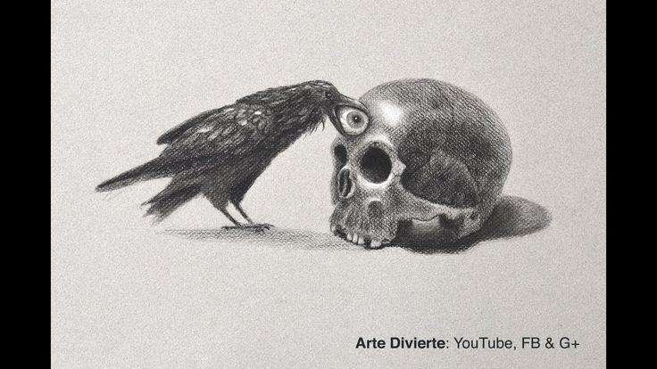Cómo dibujar un cráneo y un cuervo - Especial día de muertos - Narrado - YouTube