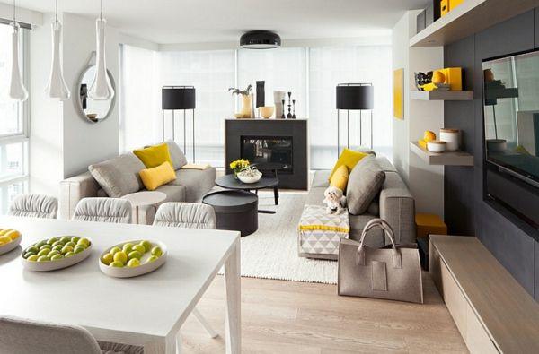 Wohnzimmer Farbgestaltung – Grau und Gelb - Wohnzimmer Farbgestaltung esszimmer stehlampen schwarz lampenschirm
