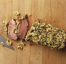 Roasted Lamb Loins with Mustard-Herb Crust #sunday #supper #recipe