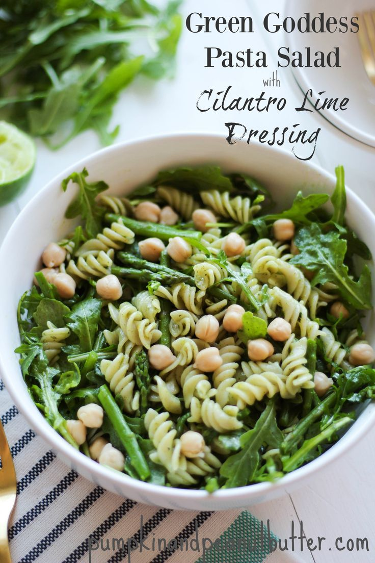 Green Goddess Pasta Salad with Cilantro Lime Dressing {vegan, gluten free} // pumpkinandpeanutbutter.com