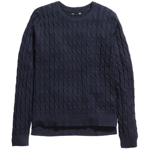 H&M Cable-knit jumper (€7,92) ❤ liked on Polyvore featuring tops, sweaters, shirts, long sleeved, dark blue, long sleeve jumper, dark blue shirt, cable sweaters, blue cable knit sweater and long sleeve shirts