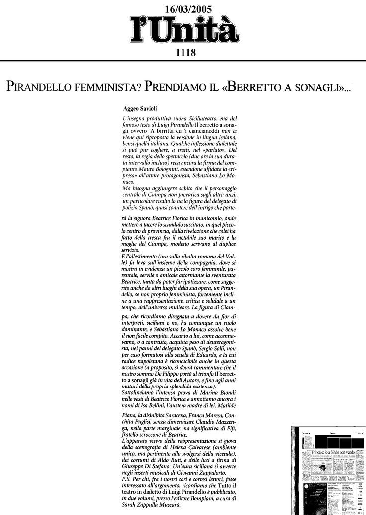 """16 marzo 2005 - L'Unità - Aggeo Savioli su """"Il Berretto a Sonagli"""""""