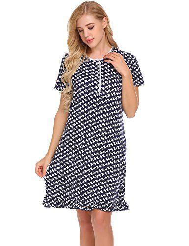 a6a7243094 Ekouaer Womens Nightgown Short Sleeve Sleepwear Sleep Dress (S-XXL ...
