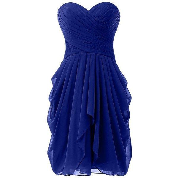 Dressy New Star Women's Chiffon Bridesmaid Dress Short Homecoming Prom... ($33) ❤ liked on Polyvore featuring dresses, short chiffon dress, prom dresses, short cocktail prom dresses, blue dress and short prom dresses