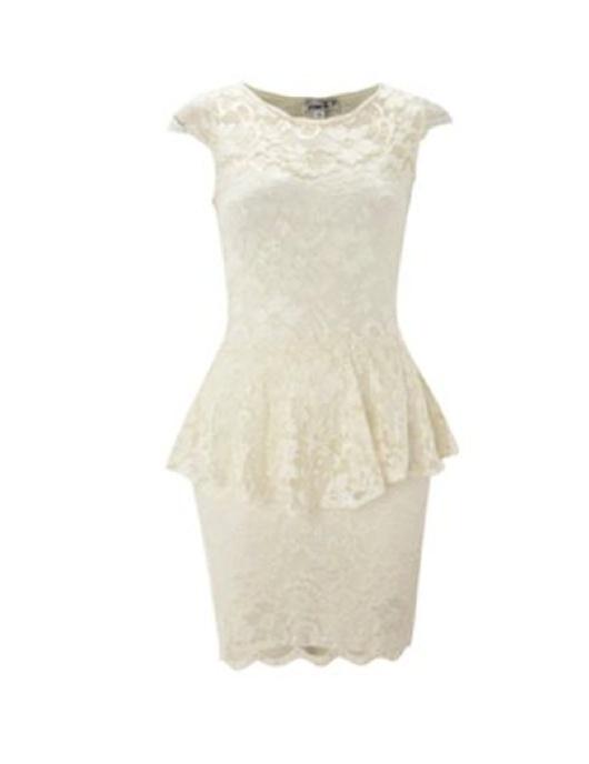 $36.90 € Vestido de fiesta de encaje  peplum de encaje en crema