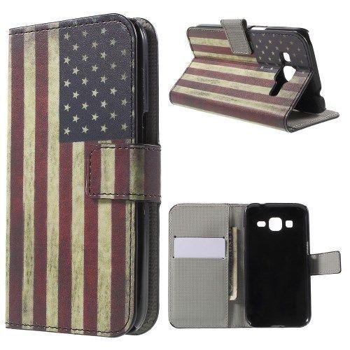 Mesh - Samsung Galaxy Core Prime Hoesje - Wallet Case Vintage Amerikaanse Vlag | Shop4Hoesjes