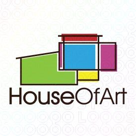 Exclusive Customizable Colorful House Logo For Sale: House Of Art | StockLogos.com