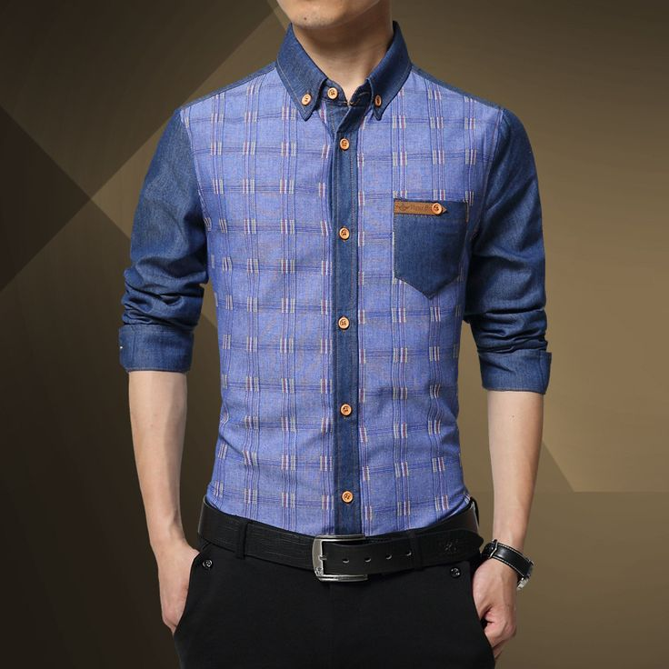 ==> [Free Shipping] Buy Best 1pcs Men's Slim fit shirts tops 2017 Spring Pure cotton denim plaid splicing long-sleeve dress shirts Men Skinny shirts overhemd Online with LOWEST Price | 32779946539
