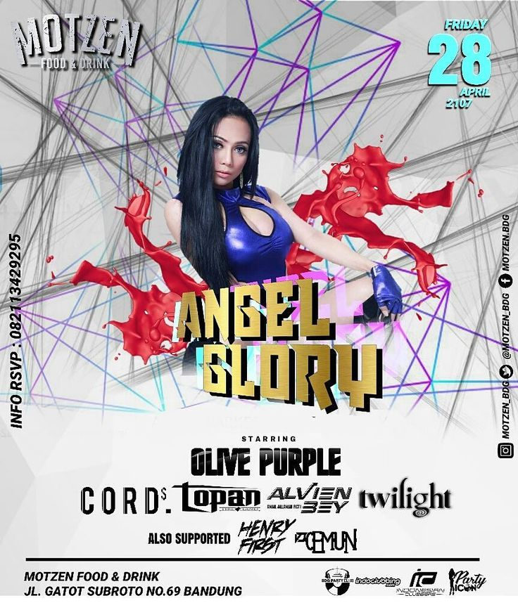 Tonight! ANGEL GLORY right here only at motzen!  Satrring - OLIVE PURPLE - CORDS - TOPAN - ALVIEN BEY - TWILIGHT  our supported -HENRY FIRST - CEMUN  Motzen food & drink Jl. Gatot Subroto No. 69 Bandung . #motzenbdg #party #clubbing #bdgpartyclub #dj #diskjokey #femal #fdj #free #beer #indonesianclubbers #indoclubbing #bandung #bandungjuara #bdgevents #explorebandung #party #pioneer #party #event #house #trap #twerk #breaks #bdgtonight #pioneer #bar #club #cdj #cdj900 #mixingslime #song…