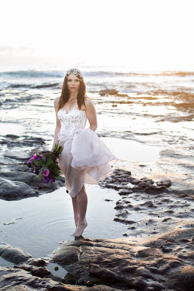 Jewel Toned Beach Inspiration Shoot // Photography: Eternity Images. Concept and Styling: Decorations By Jelena. Bouquet: Merci Bouquet. Hair and Makeup: Kat Quinn. Gown: Norma Bridal Couture. Headpieces and Jewellery: Maria Elena Headpieces. Stationery: Wedding Chicks. Model: Ashley Defrenza