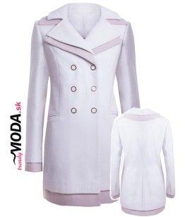 Biely dámsky zimný kabát priliehavého strihu v kombinácií svetlej a tmavej modrej je tou pravou voľbou na aktuálnu zimnú sezónu. -trendymoda.sk