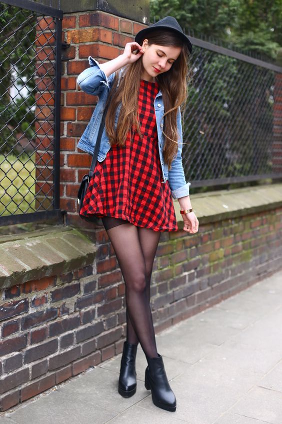 Denim jacket, a red plaid dress, heeled leather boots and hat - By Ariadna M. - http://ninjacosmico.com/20-grunge-outfit-ideas-may/
