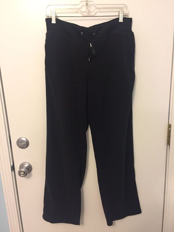 Danskin Now Womens Fleece Pants Size Large BLACK Lounge Yoga Workout Warmup  | eBay