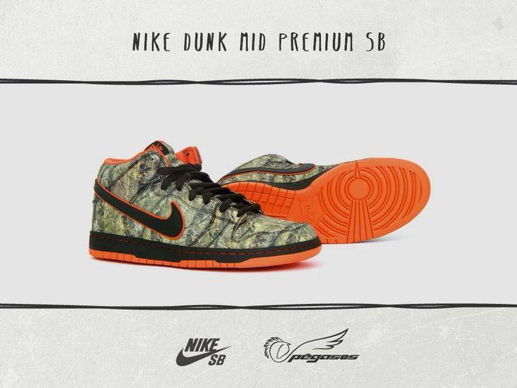 Nike SB Dunk Mid você encoontra na Pégasos.  Esse sneakers clássico é um colab da Nike com a confecção de caça Realtree. Camuflagem em laranja e seus detalhes vibrantes em verde army vão realmente acomodar seus pés!  www.pegasos.com.br