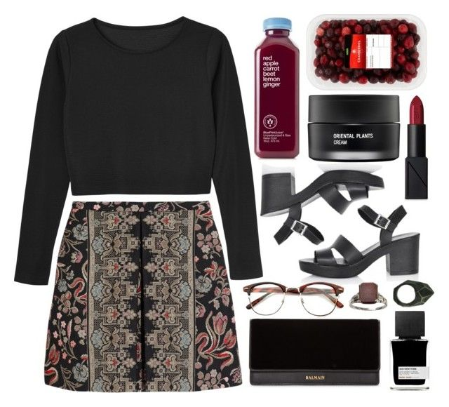 """""""Untitled #711"""" by rheeee ❤ liked on Polyvore featuring NARS Cosmetics, Topshop, Valentino, Monki, Balmain, Koh Gen Do, MiN New York and Lady Grey"""