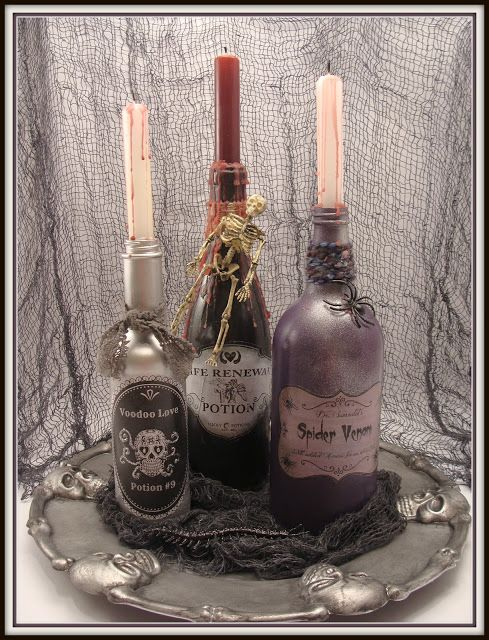 DIY - $ store tray + Potion Bottles, including the Labels. How spooky is this ? (Source : http://www.craftyincrosby.com/2012/10/spooky-potion-bottles-and-dollar-store.html) #halloween #diy #decor