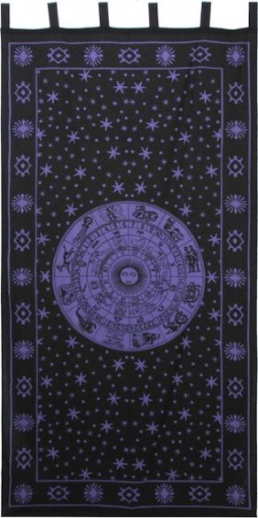 Zodiac - Black and Purple - Curtain $27