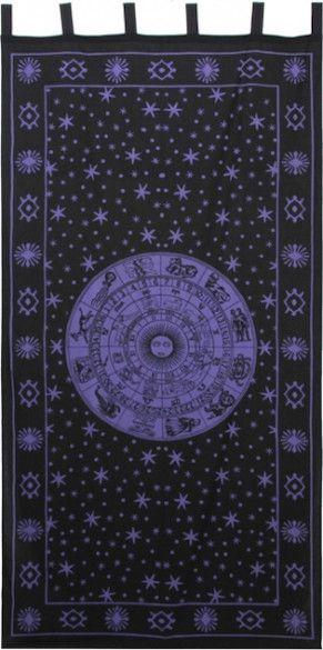 Zodiac - Black and Purple - Curtain $27
