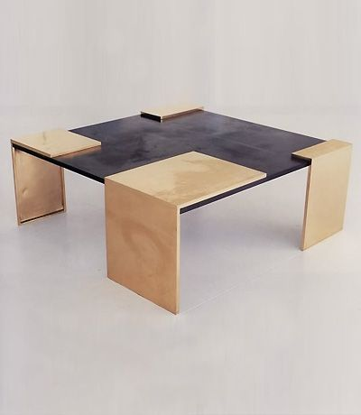 Eric Schmitt Bronze And Slate Coffee Table For Ralph Pucci Furniture Coffee Tables