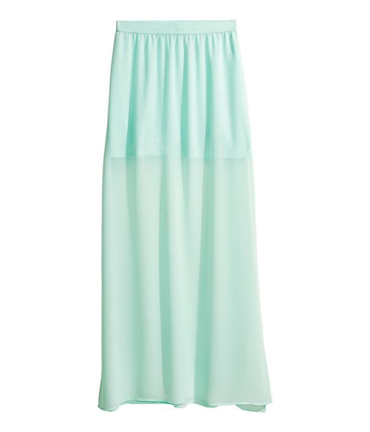 Mint green maxi skirt in airy chiffon with high side slits. | H&M Pastels