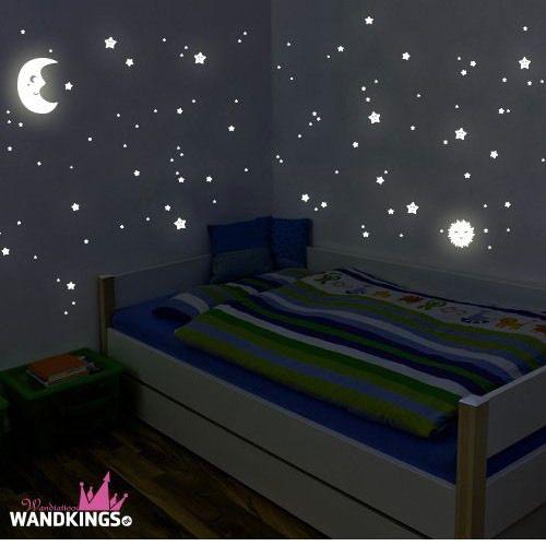 """Adhesivos de pared luminosos de Wandkings """"Sol, luna y estrellas Juego XL"""""""