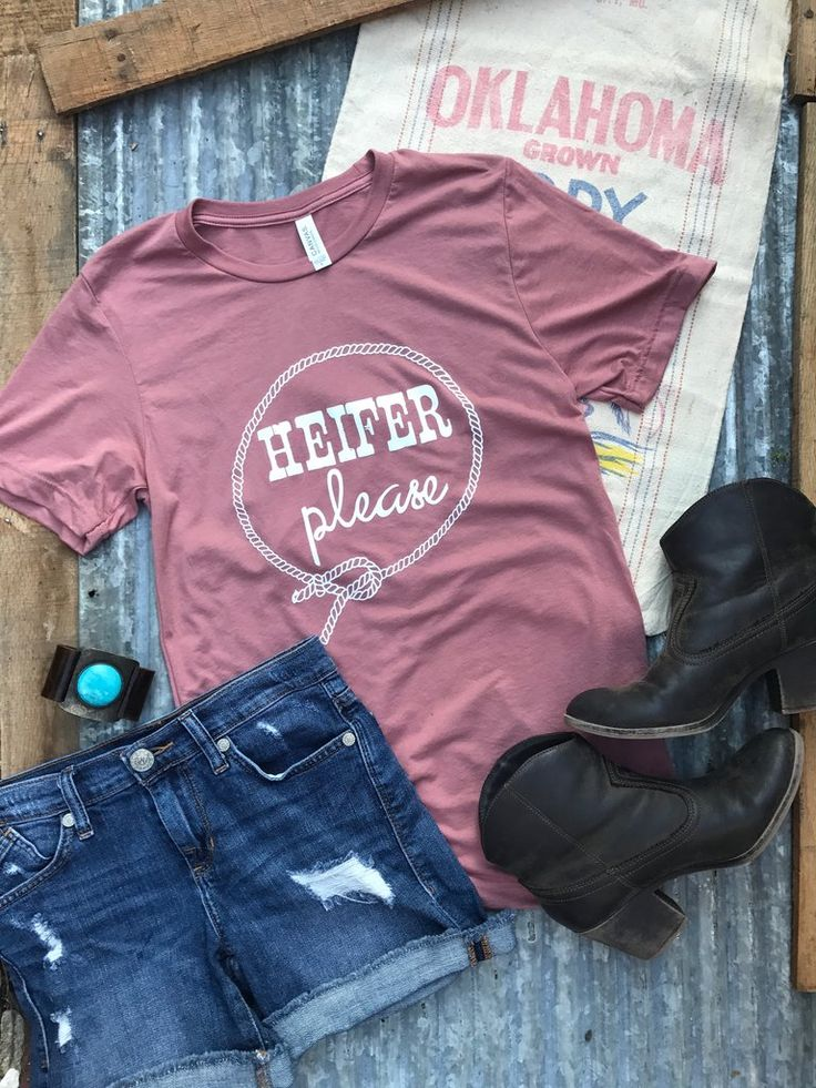 HEIFER, PLEASE! - Unisex triblend - Clay, Mauve, or Olive with white print - Sass not included Rosebud's Tees