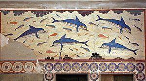 La fresque des dauphins, au palais de la reine à Cnossos