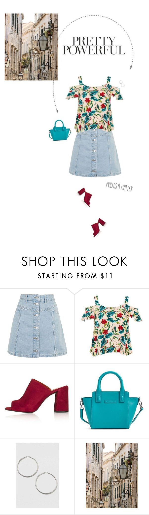 """Blush Floral Bardot Top & Denim Button Through Skirt."" by xabbielou ❤ liked on Polyvore featuring Topshop, Vera Bradley and Chloé"