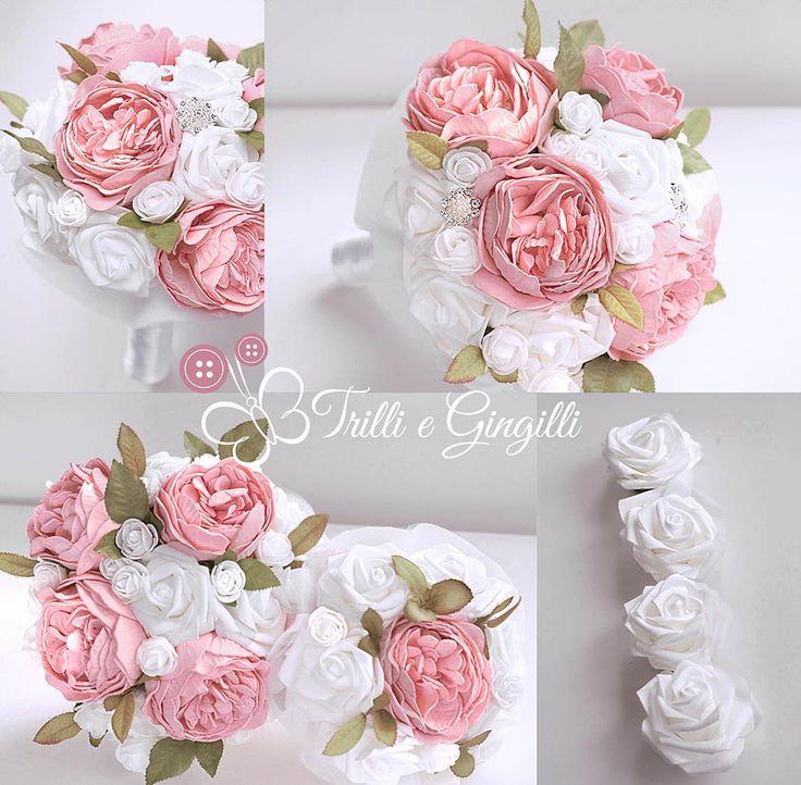 Bouquet di peonie bianche e rosa