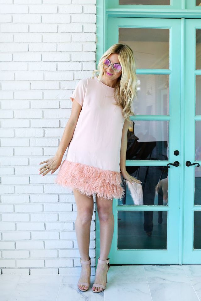 Feather Blocked Dress DIY