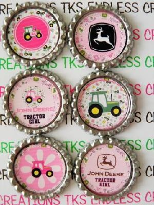 Adorable Pink John Deere them finished bottle caps, great for all sorts of crafts!