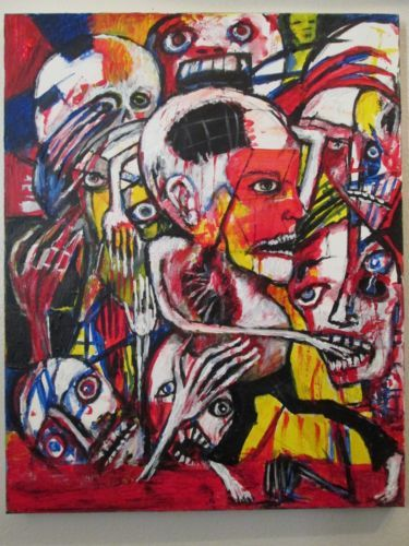 """""""INEXTRICABLE"""" abstract/ outsider art/ original 16""""x20"""" canvas,by jack larson"""
