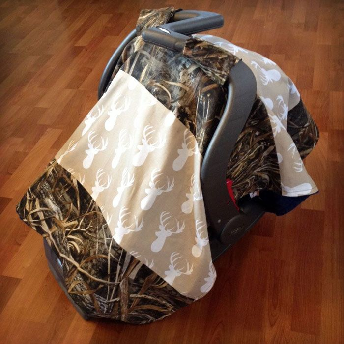 Camo and Buck Print Carseat Canopy