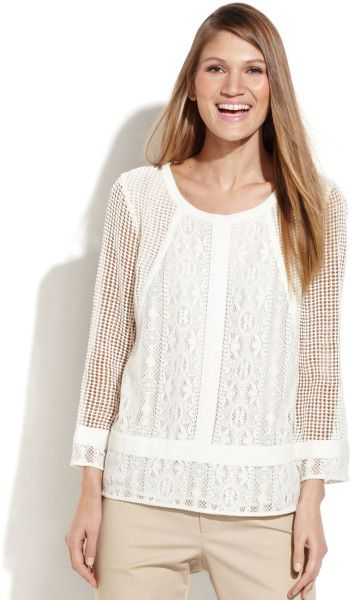 Calvin Klein Mesh-sleeve Crochet Lace Top in White (Ivory) - Lyst