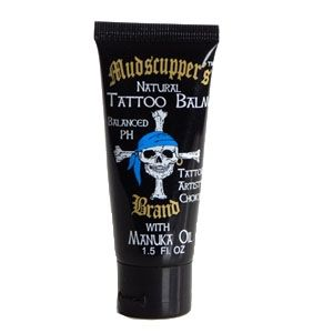 "Mudscupper's Tattoo Balm 1.5 oz. Best tattoo aftercare. Other tattoo aftercare products only moisturize. This tattoo aftercare balm moisturizes with all natural oils and butters and provides protection the others do not. East Cape Manuka Oil is antibacterial, antifungal, anti-inflammatory, and anti microbial. East Cape Manuka Oil is known for its effectiveness against Staph and MRSA. Google ""Manuka Oil and MRSA"". Other products may moisturize, this product moisturizes and protects!"