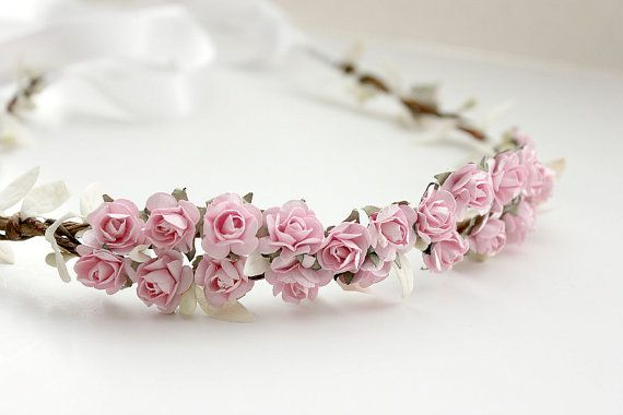 Pink Floral Crown Wedding Flower Crown. Paper by rosesandlemons, $45.00