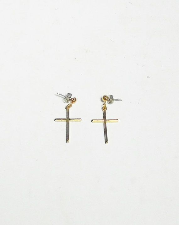 0f8a652dd Simple Cross Earrings Plain Gold Tone Drop Dangle Dangling 1 1/4