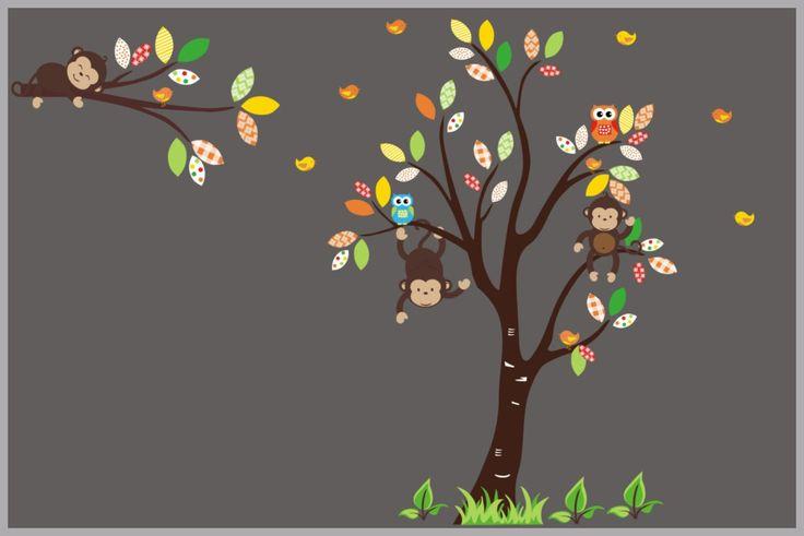 "Woodland Themed Decals - Forest Nursery Theme - Woodland Wall Stickers - Forest Nursery Decor - Wall Decals - Nursery Tree Art - 88"" x 132"""