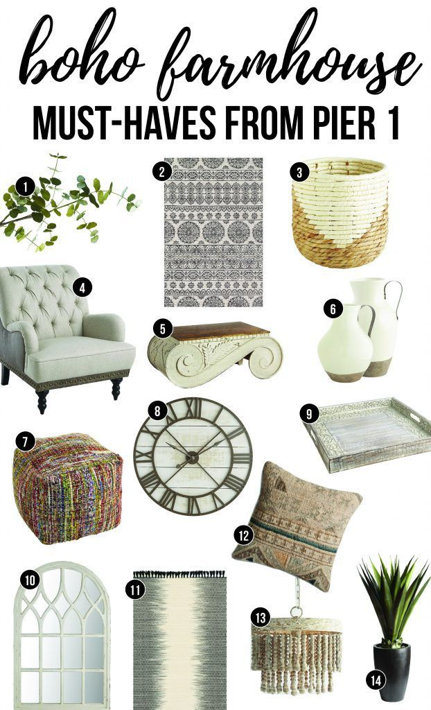Boho Farmhouse Must-Haves From Pier 1 | Get the boho farmhouse look! | Pier 1 Farmhouse Style Decor | Boho Home Decor for Pier 1 | Eucalyptus Stem | Moroccan Print Rug | Boho Wicker Waste Basket | Farmhouse Armchair | Vintage Corbel Coffee Table | Farmhou