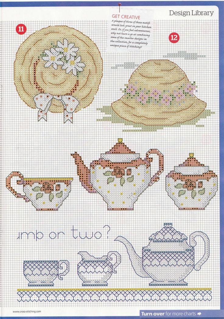 teapot, teacup, hat.
