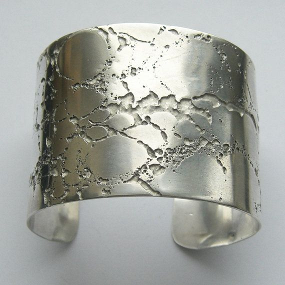 STERLING SILVER CUFF BANGLE - ETCHED    CREVICE  ERODE COLLECTION    MADE TO ORDER    This .925 silver cuff bracelet was inspired by the textures
