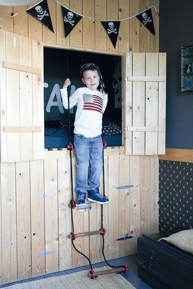 Stoere hoogslaper - High sleeper Kijk op www.101woonideeen.nl #tutorial #howto #diy #101woonideeen #hoogslaper #highsleeper